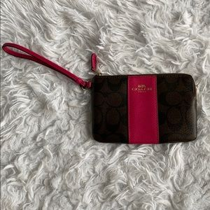 COACH brown/black/pink wristlet with gold accents